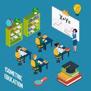 Stock Illustration of School Education  Isometric Concept