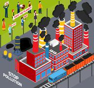 Humans Against Industrial Pollution Stock Illustration