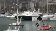 A row of boats moored in the port of Chiavari Stock Footage