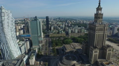 Great aerial view of Parade Square, with the skyscrapers nearby, Warsaw Stock Footage