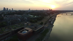 Aerial view of Copernicus Science Centre next to Vistula River in Warsaw Stock Footage