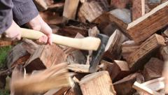 Young Woman Firewood Splitting Close Up - stock footage