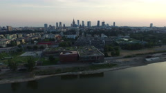 Aerial view of Copernicus Science Centre and the surroundings, Warsaw Stock Footage