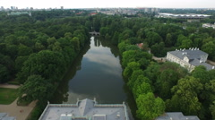 Aerial view of Lazienki Park in Warsaw Stock Footage