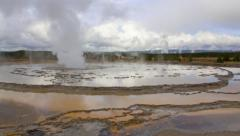 Great Fountain Geyser, Yellowstone National Park time lapse pan Stock Footage