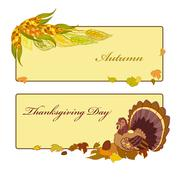 Stock Illustration of Thanksgiving day banner with corn, pumpkin and autumn leaves.