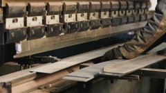 Industrial production - the machine for bending metal Stock Footage