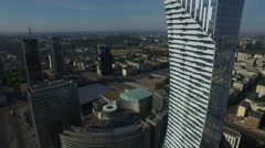 Aerial view of traffic on Aleje Jerozolimskie and skyscrapers nearby, Warsaw Stock Footage