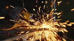 Lots of sparks from the grinder Stock Footage