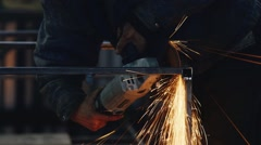 Power tools for grinding work. A lot of spectacular sparks Stock Footage