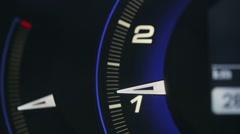 Tachometer metering video blue glowing - stock footage