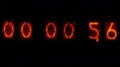 Digital clock countdown - orange numbers - stock footage