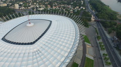 Aerial view of National Stadium and the adjacent streets in Warsaw Stock Footage