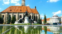 View on the Saint Michaels Church in Cluj-Napoca Stock Footage