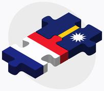 France and Nauru Flags Stock Illustration