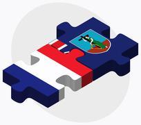 France and Montserrat Flags - stock illustration
