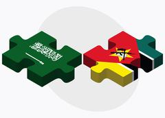 Saudi Arabia and Mozambique Flags Stock Illustration