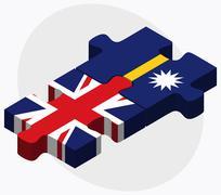 United Kingdom and Nauru Flags Stock Illustration