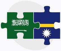 Saudi Arabia and Nauru Flags Stock Illustration