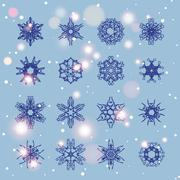 Stock Illustration of Snowflake Set. Christmas and new year concept