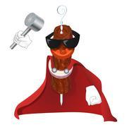 Super Kebab man in red cloak - stock illustration