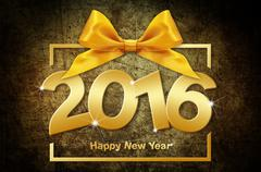 happy new year 2016 golden text with box and ribbon on grunge  background - stock illustration