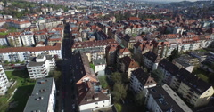 Crane shot of residential district, Stuttgart, Baden-Wuerttemberg, Germany Stock Footage