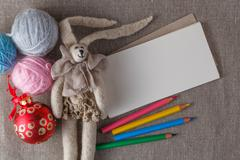 Felt doll on background with space for you message Stock Photos