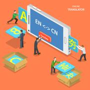 Online translator isometric flat vector concept. - stock illustration
