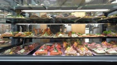 Meat in Torvehallerne Market Stock Footage