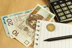Image of money and a calculator, home budget Stock Photos