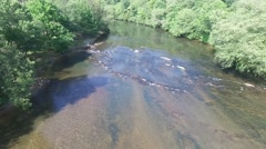 Aerial view of Toccoa river rapids Stock Footage