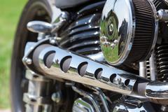 Closeup of chromed motorcycle engine Stock Photos