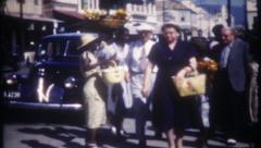 2792 - very busy Havana street scene, American tourist - vintage film home movie Stock Footage