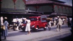 2794 - Panama street market, traffic, pedestrians - vintage film home movie Stock Footage
