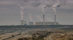 Open pit mine and power plant Stock Footage