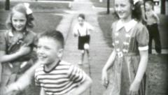 Teenagers Laughing And Playing Tag Together-1955 Vintage 8mm film - stock footage
