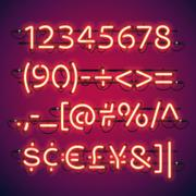Glowing Neon Bar Numbers - stock illustration
