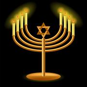 Gold Menorah with Burning Candles - stock illustration
