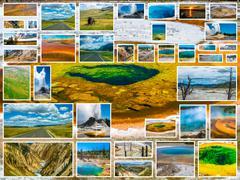 Yellowstone Glory Pool Collage - stock photo