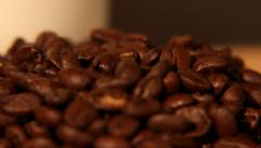 Coffee Bean Tracking Shot - Falling Coffee Beans Stock Footage