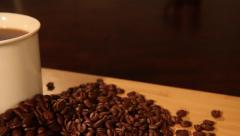 Hot Coffee with Whole Coffee Beans Tracking Shot 02 Stock Footage
