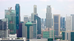 Contemporary Highrise Architecture of Singapore's Famous Skyline Stock Footage