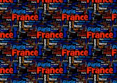Wordcloud Paris France Terror Stock Illustration