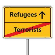 Illustration Vector Graphic Road Sign Refugees - stock illustration