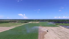 Farm Land Agriculture aerial with sprinklers Stock Footage