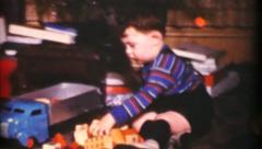 Little Boy Playing With New Dump Truck At Christmas-1955 Vintage 8mm film - stock footage