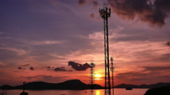 Communication Towers with Storm Time Lapse over ocean - stock footage