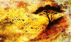 Painting sunset, sea and tree, wallpaper landscape, color collage. and abstract Stock Illustration