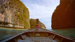Cruising between Massive Limestone Formations from an Onboard Perspective Stock Footage